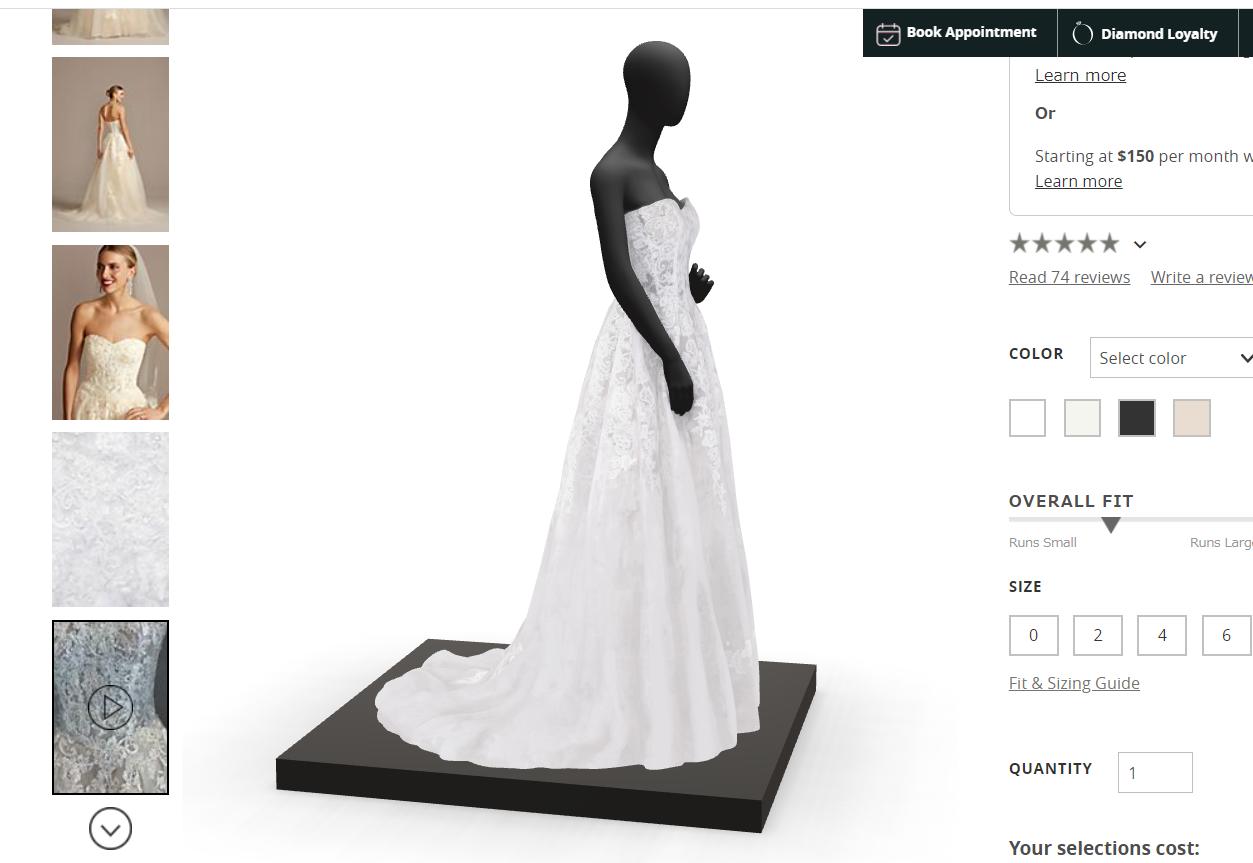 ウェディングドレスの3Dモデル:ドレス詳細ページのスクリーンショット